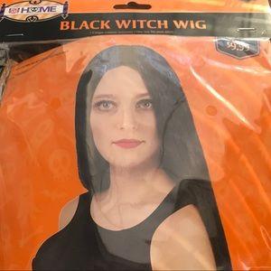 Long black halloween costume wig